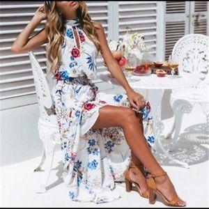 Dresses & Skirts - Floral dress maxi high low key hole halter tie